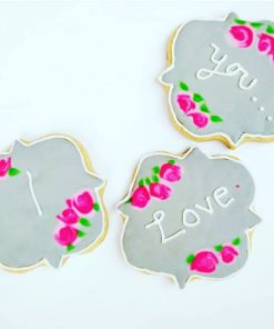 I love you themed cookies